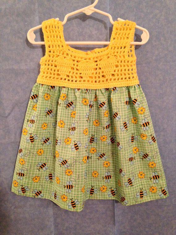 Abejorro blusa de Crochet Vestido de verano  mo tamaño 18 #uncinettoperbambina