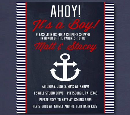 Nautical Inspired Invitations. Perfect For A Baby Shower On A Yacht. #DIY