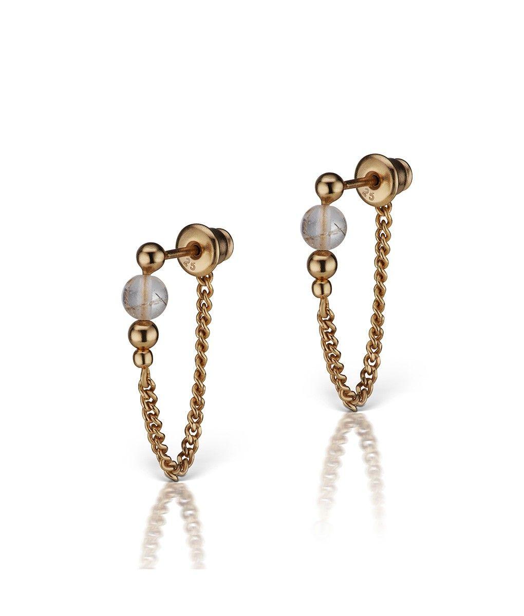 Mania Mania Chelsea Earrings - 18K Gold Vermeil and Phantom Quartz