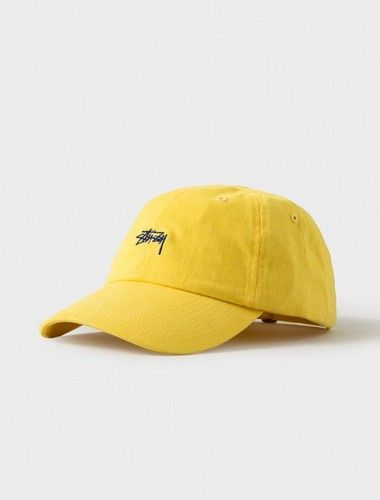 c20320a6640e1 STUSSY Curved Baseball Caps-Yellow