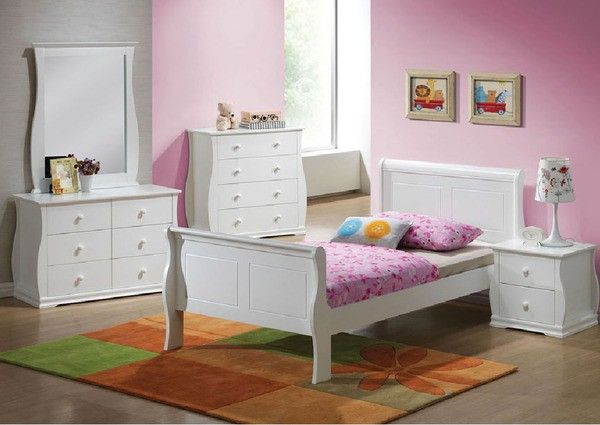 Acme Furniture - Nebo White Wave Shaped Youth 5 Piece Twin Bedroom