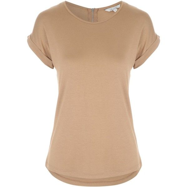 c47710f287f3 Womens Tan Zip Back T Shirt ($9.75) ❤ liked on Polyvore featuring tops, t- shirts, sleeve t shirt, tan top, tan tee, short sleeve t shirts and short t  shirt