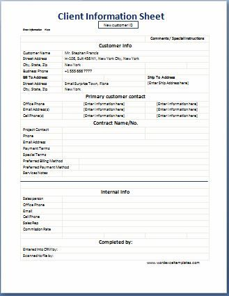 Charming Business Format Client Information Sheet Word Excel Templates Word U0026 Excel  Templates To Information Sheets Templates