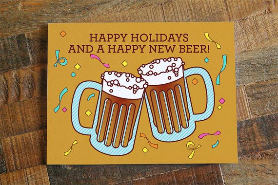 funny holiday new years card happy new beers by tinybeecards