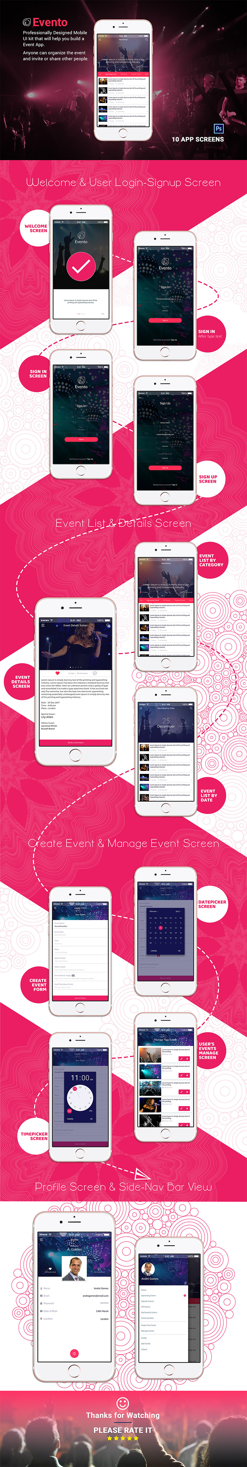 Event Mobile App Design | EVENTO | Free Download | Designpex