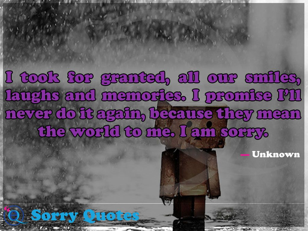 I took for granted, all our smiles, laughs and memories. I promise I'll  never do it again, because they mean the world to me.… | Sorry quotes,  Sorry my love, Quotes