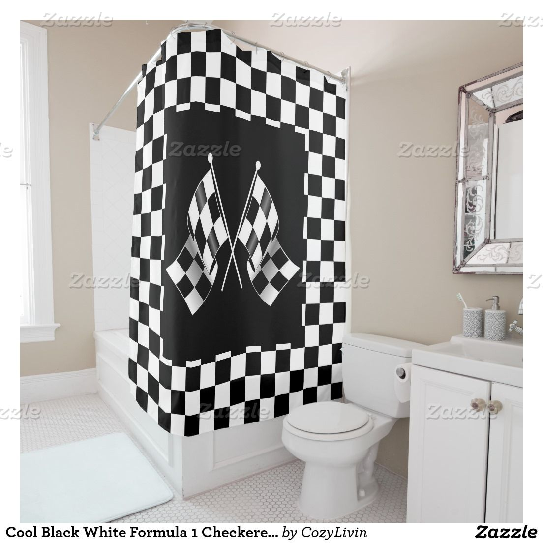 Cool Black White Formula 1 Checkered Flags Pattern Shower Curtain Auto Racing On A And