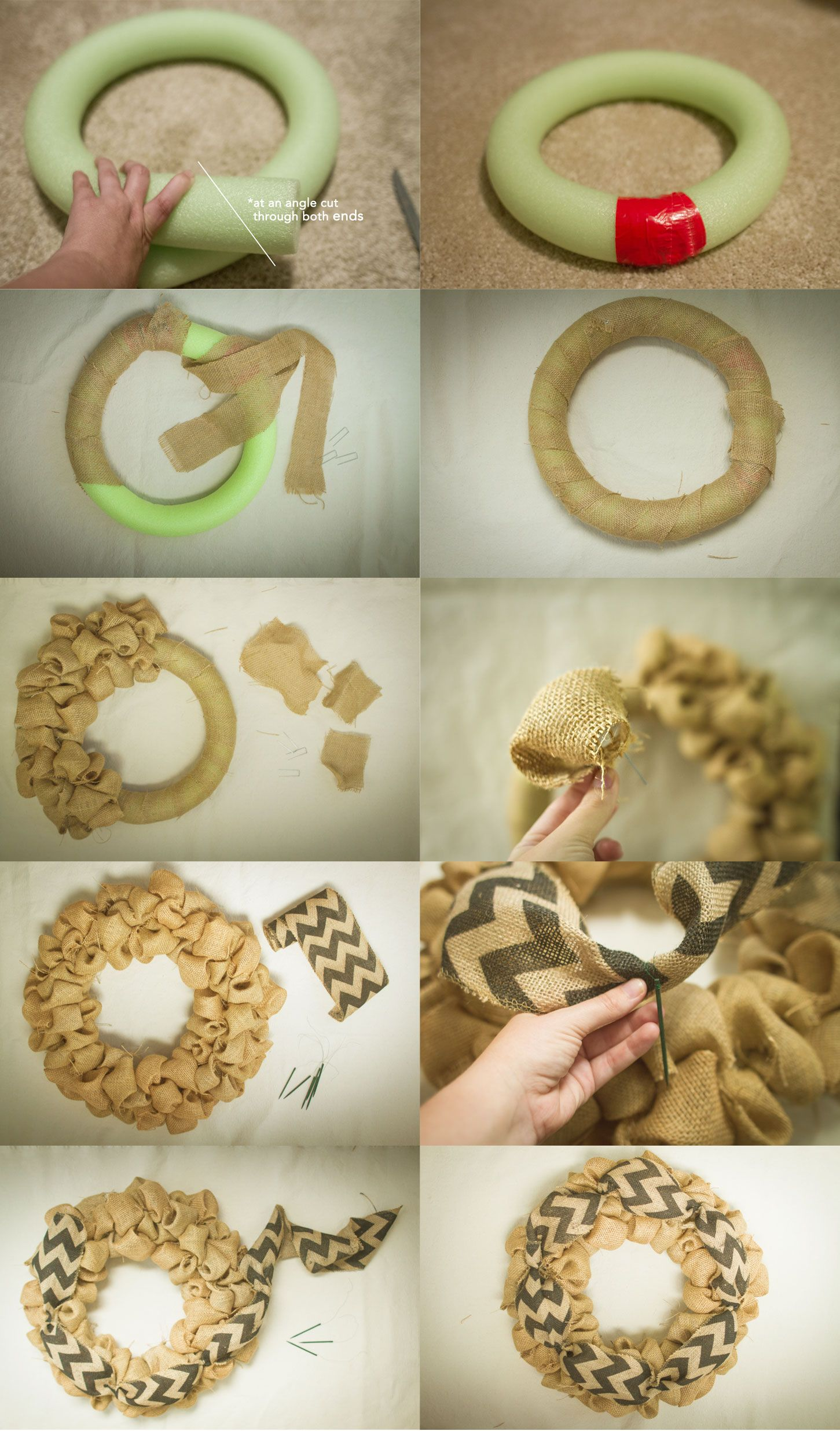 How to make a burlap wreath with a pool noodle umm i Making wreaths
