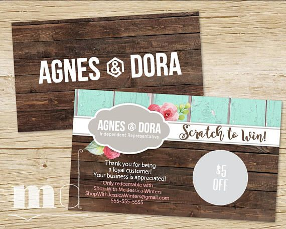 Agnes and dora scratch off card scratch sticker card agnes dora prize scratcher business card best rustic wood floral design for small business