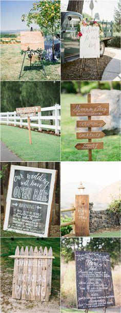 señales creativas de la boda para las bodas rústicas                                                                                                                                                      Más