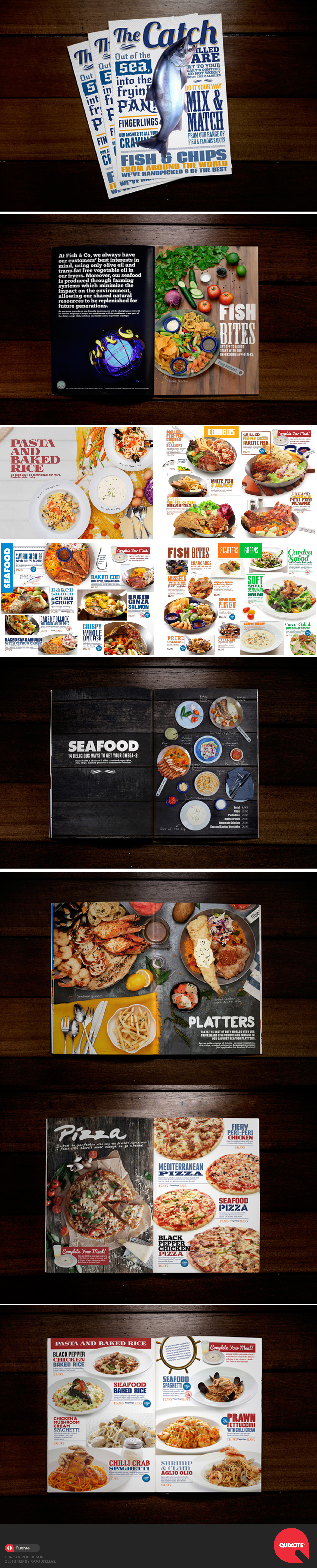 Great and fun Menu Design. This menu showcases the restaurant's food through tantalizing photos and merry typography. Fish & Co. is located in Singapore.  Design by Goodfellas