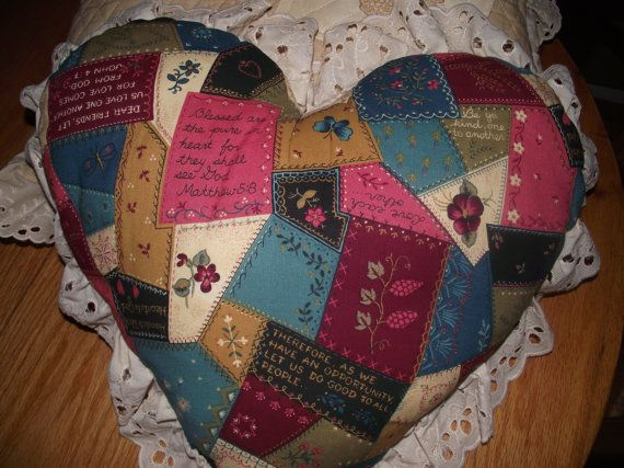 Memory pillow cotton printed fabric w/scriptures tea by EulasHeart, $25.00