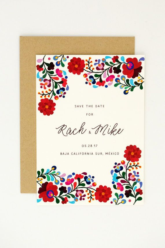 Destination Wedding Save The Dates Colorful Mexican Embroidery - Wedding invitation templates: mexican wedding invitations templates