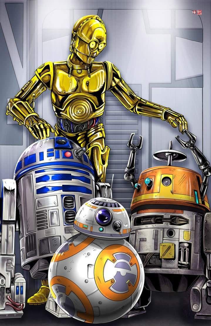 R2 D2 C 3po Bb 8 And Chopper Star Wars Pictures Star Wars Canvas Art Star Wars Artwork