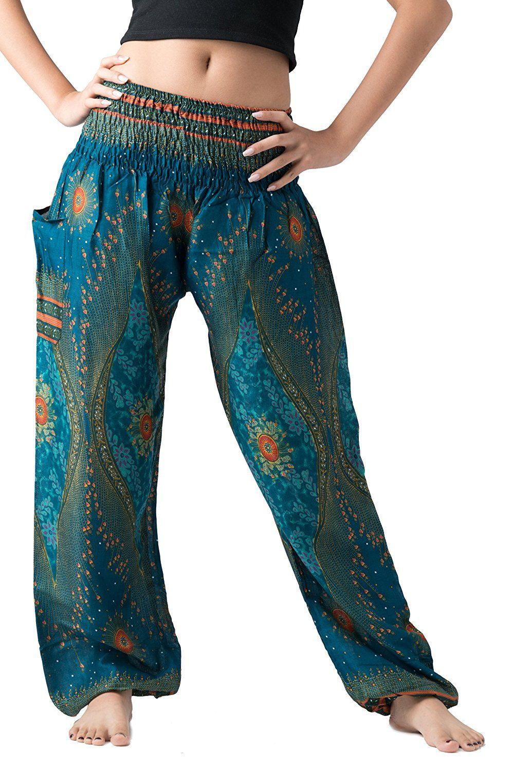 Bangkokpants Women S Boho Pants Hippie Clothes Yoga Outfits Peacock Design One Size Fits Green At Amazon Women S Clothing Store Pantalones Leggins