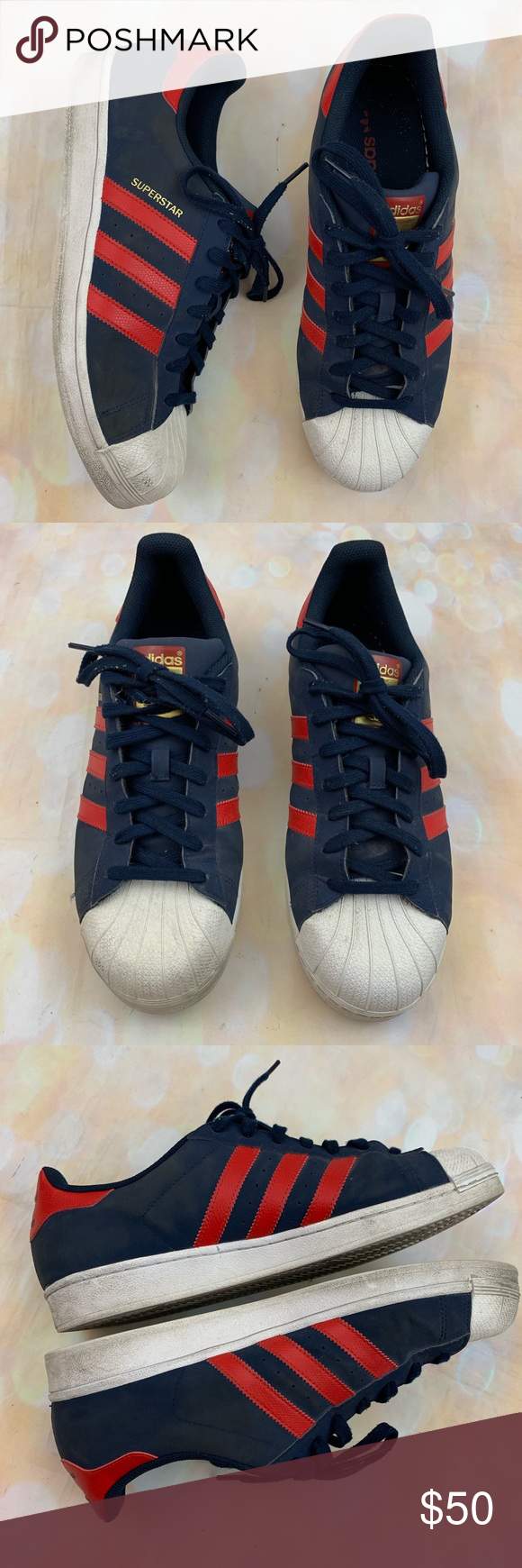 newest 9d750 1403f Adidas superstar shell navy red superman sneakers Very good pre owned  condition adidas Shoes Sneakers