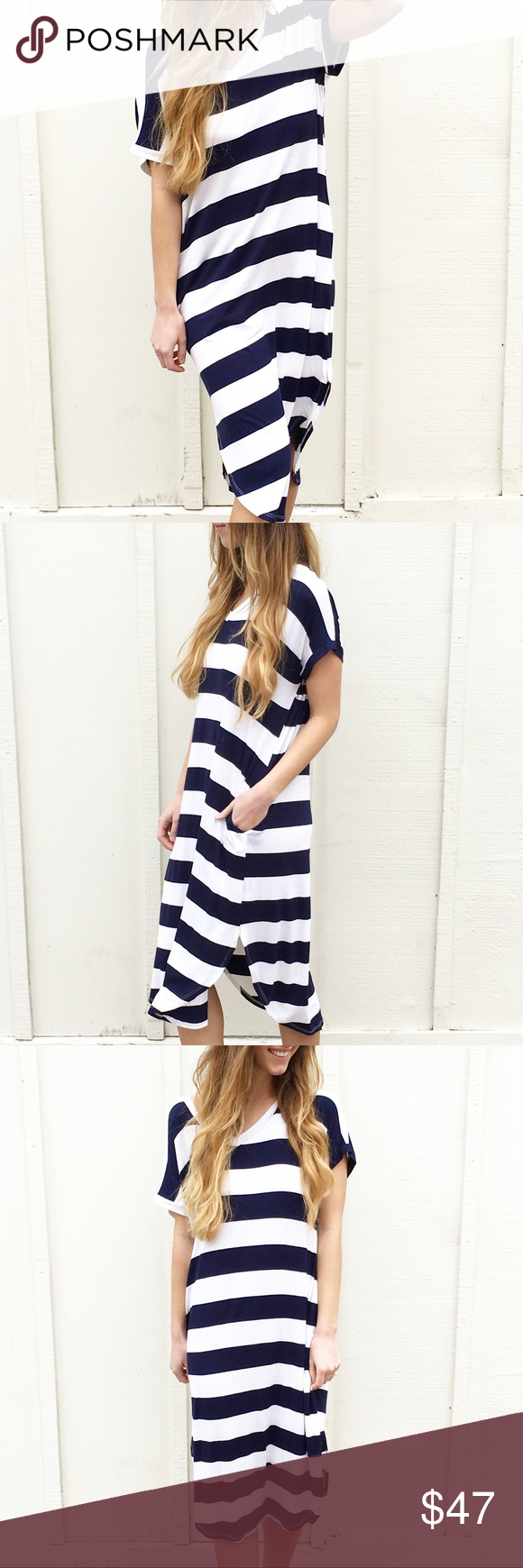 Last item oversized t shirt dress boutique navy stripes navy and