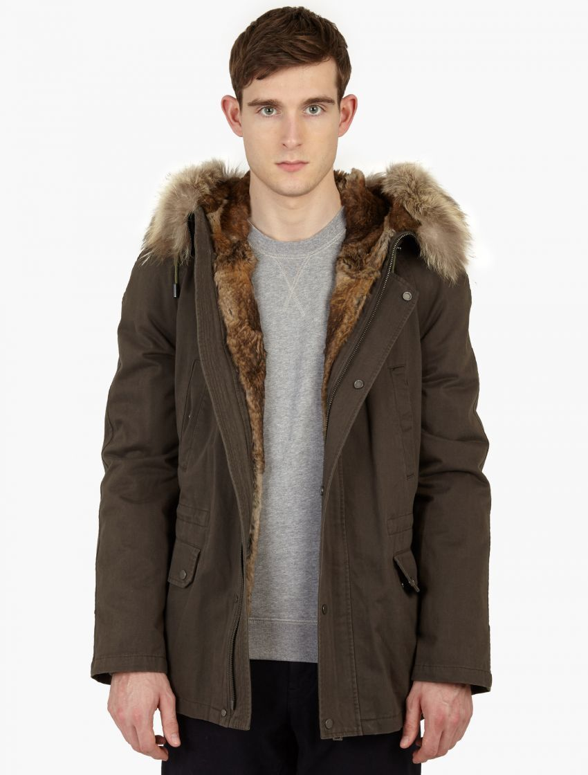 Yves Salomon | Natural Dark Grey Rabbit-fur Lined Parka for Men ...