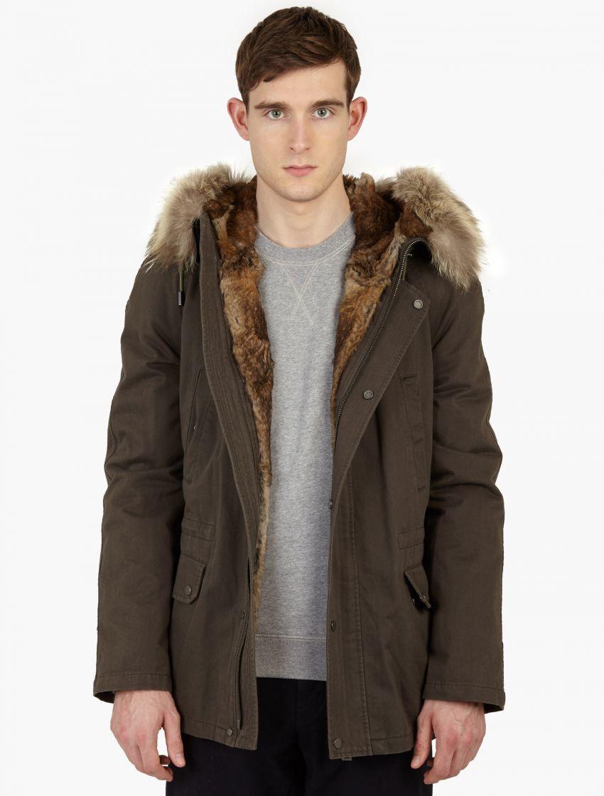 fc8ef91cde Yves Salomon | Khaki Dark Grey Rabbit-fur Lined Parka for Men | Lyst ...