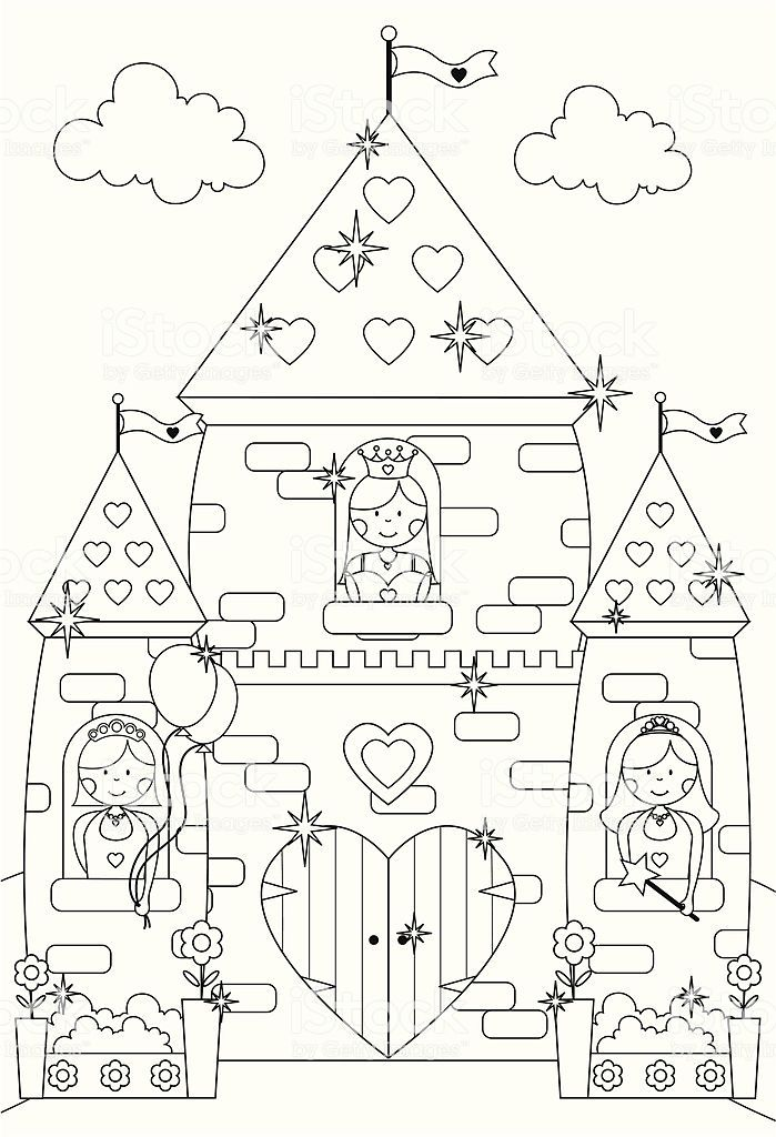 Outline drawing of princesses at the windows of their fairy tale... | Coloriage chateau ...