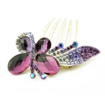 Winson Women's Valentine's Butterfly Bling Rhinestone Bead Hair Fringe Comb Pin Clip Purple -- Read more at the image link.