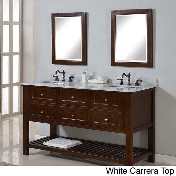 Direct Vanity 60-inch Mission Spa Dark Brown Double Vanity Sink