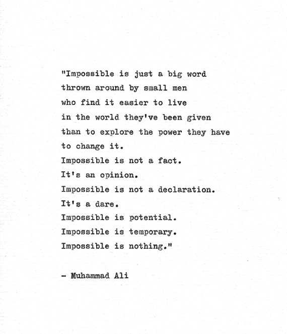 "Muhammad Ali Inspirational Quote ""Impossible is Nothing"" Vintage Typewriter Hand Typed Print Boxing"