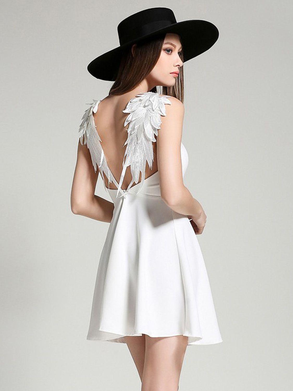 fe5214814bf White V-neck Wing Detail Open Back Skater Dress