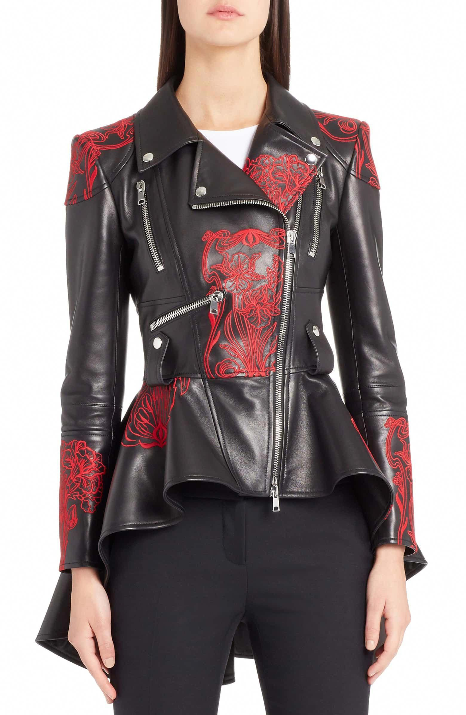 Embroidered Leather Biker Jacket, Main, color, BLACK/ RED