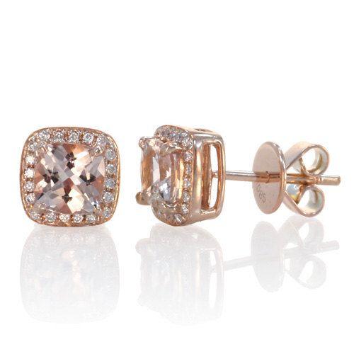 rose gold morganite earrings cushion cut halo diamond. Black Bedroom Furniture Sets. Home Design Ideas