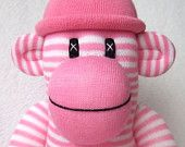 Pink Striped Sock Monkey with pom pom hat (made to order)