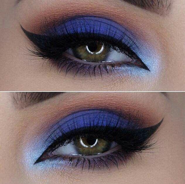 Maquillaje de ojos azules con cafe , delineado de ojos y cejas