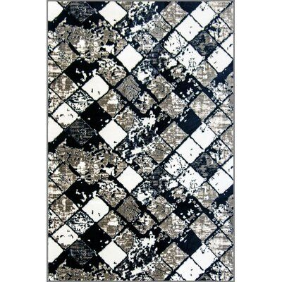 Winston Porter Tibbetts Print Absorbent Soft Black Area Rug Rug Size Runner 2 X 7 Rugs Area Rugs Stair Tread Rugs
