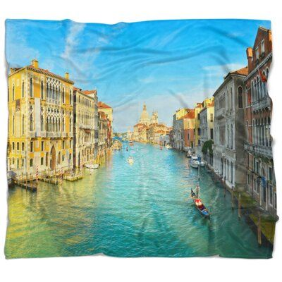 Photo of East Urban Home Cityscape Vibrant Evening Venice Italy Blanket | Wayfair