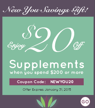 http://store.liveto110.com/supplements/  We can't get enough of these savings! Live to 110 is offering $20 off your order of supplements when you spend $200 or more! Offer expires 1/31 so don't miss out. Use coupon code: NEWYOU20