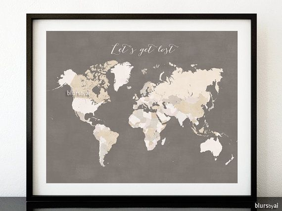 Printable world map with countries distressed vintage earth tones chalkboard quote print chalkboard world map with countries distressed vintage travel art adventure awaits diy chalkboard map d gumiabroncs Images