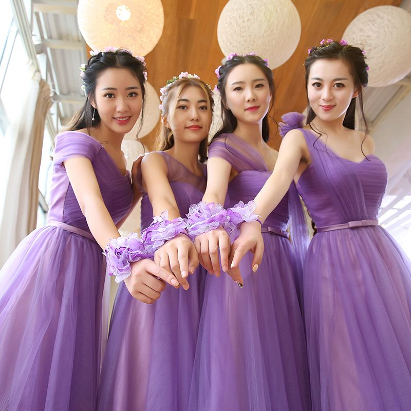 New Arrival Long Bridesmaid Dress Violet Purple Tulle Formal Gown ...