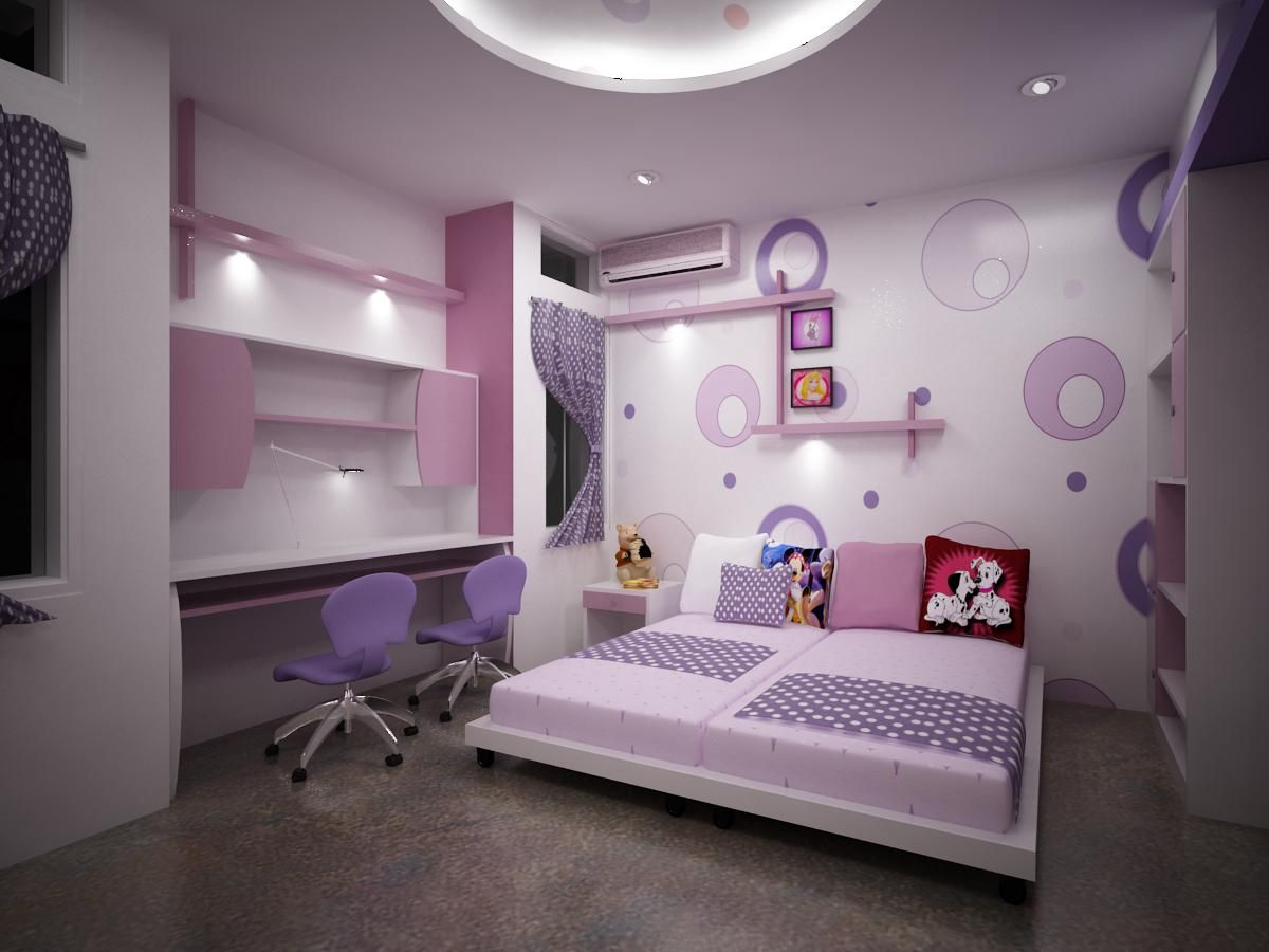 Kids Room Luxury Interior Design Purple Pastel Colour Scheme Bubble  Wallpaper Recessed Light Gray Vinyl Floor Purple Swivel Chair Simple Desk  Square Pattern ...