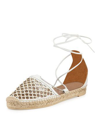 Aquazzura Blondie Studded Lattice Espadrille Sandal, White