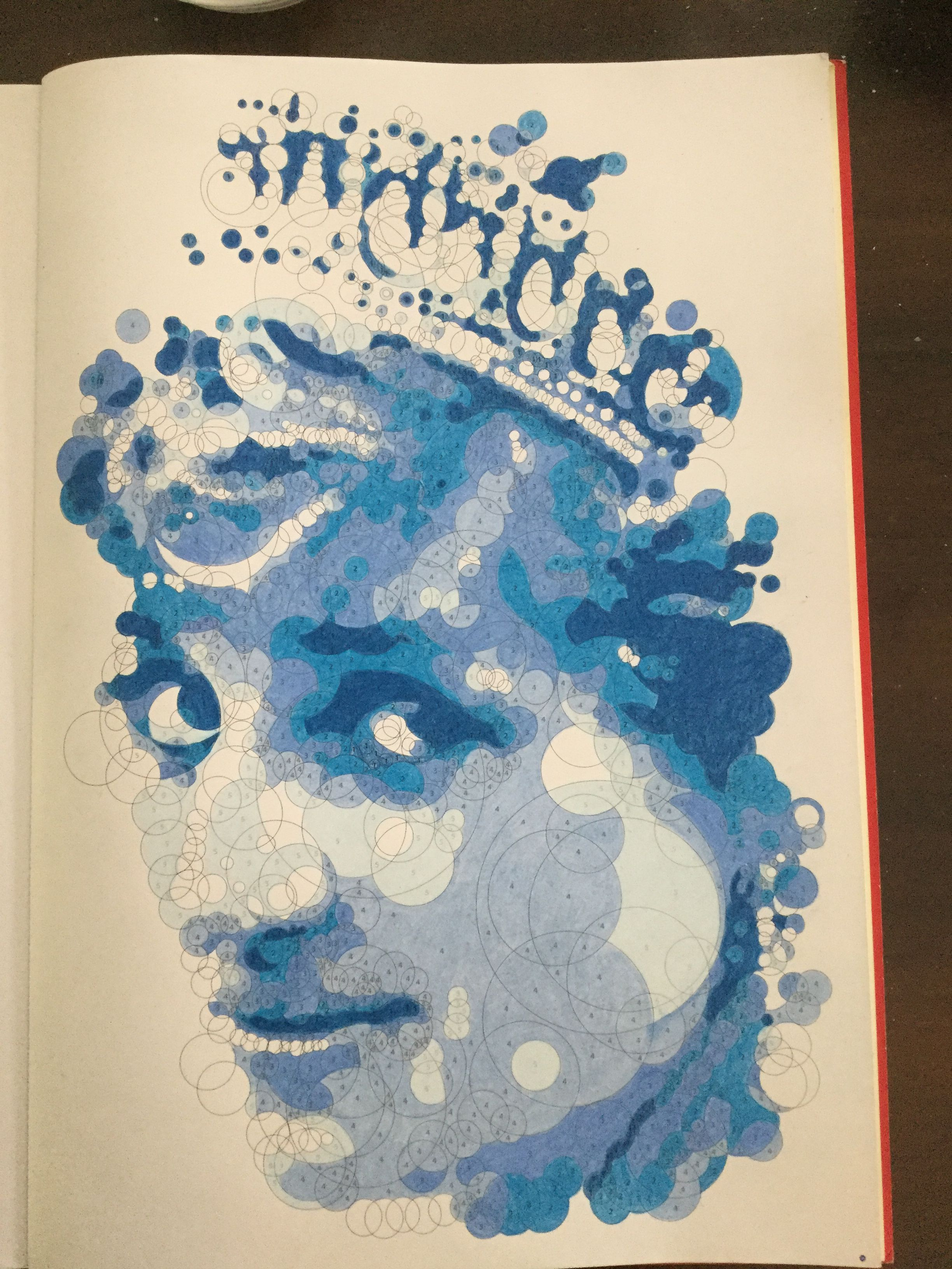 Another Querkles From The Book Querkles By Thomas Pavitte Querkle My Version Of Lady Di In Blue Art Coloring Books Artwork
