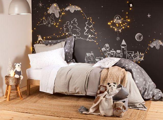Quand Une Guirlande Lumineuse épouse Le Papier Peint Déco Murale - Decoration murale pour pinterest chambre