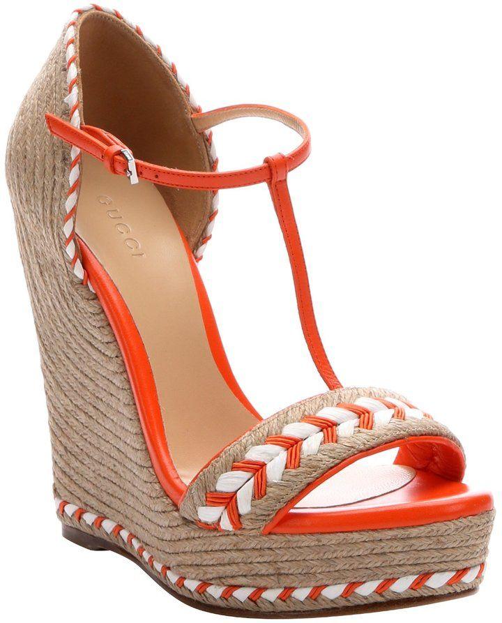 07e4df15856 Orange Leather And Jute T-Strap Open Toe Wedge Espadrilles