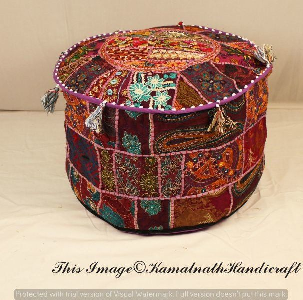 Indian Bohemian Style Ottoman Pouf Interior Decor Footstool Floor Pillow Indian Embroidered Pouf Pouffe Patchwork Seat Cover Chair Ottomans