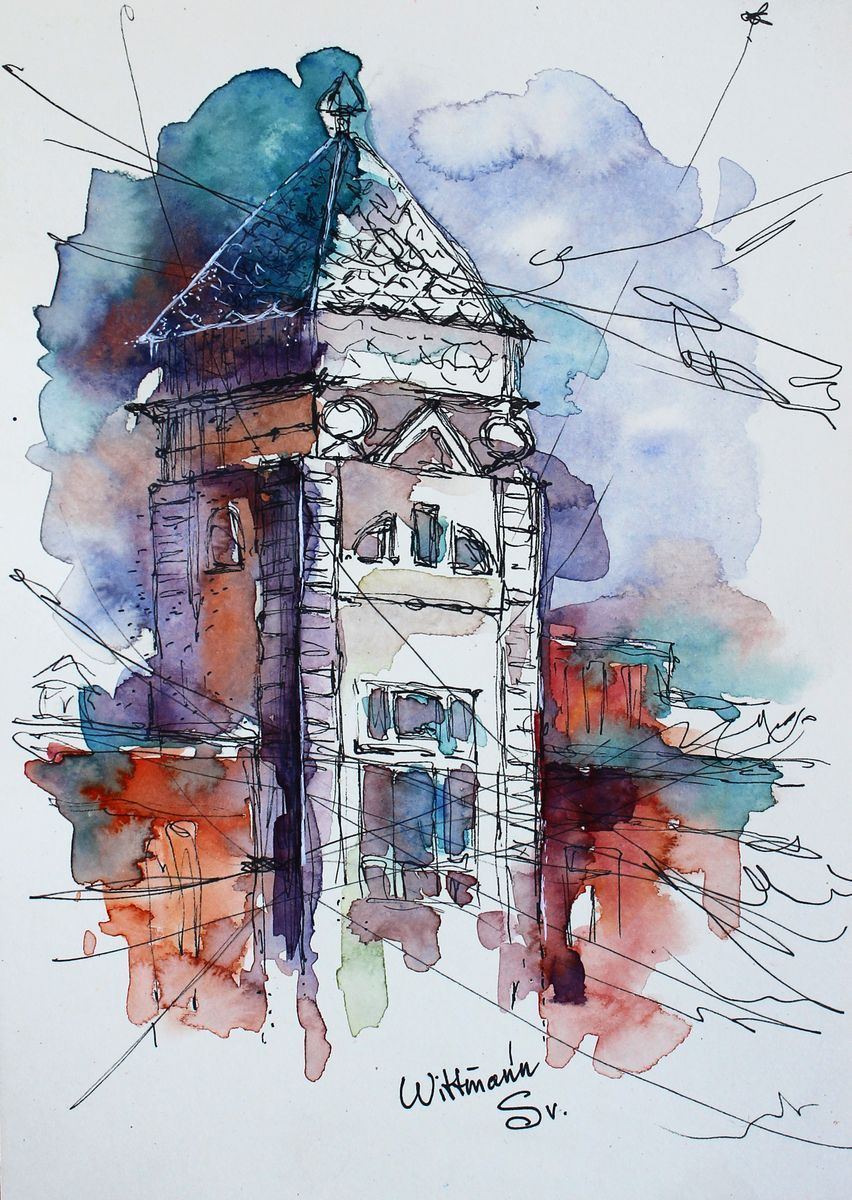Watercolor Ink Architecture Sketch Aquarelle On Light Yellow