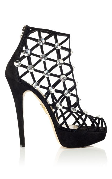 Charlotte Olympia Black Crystal Cage Sandals 1RbhF
