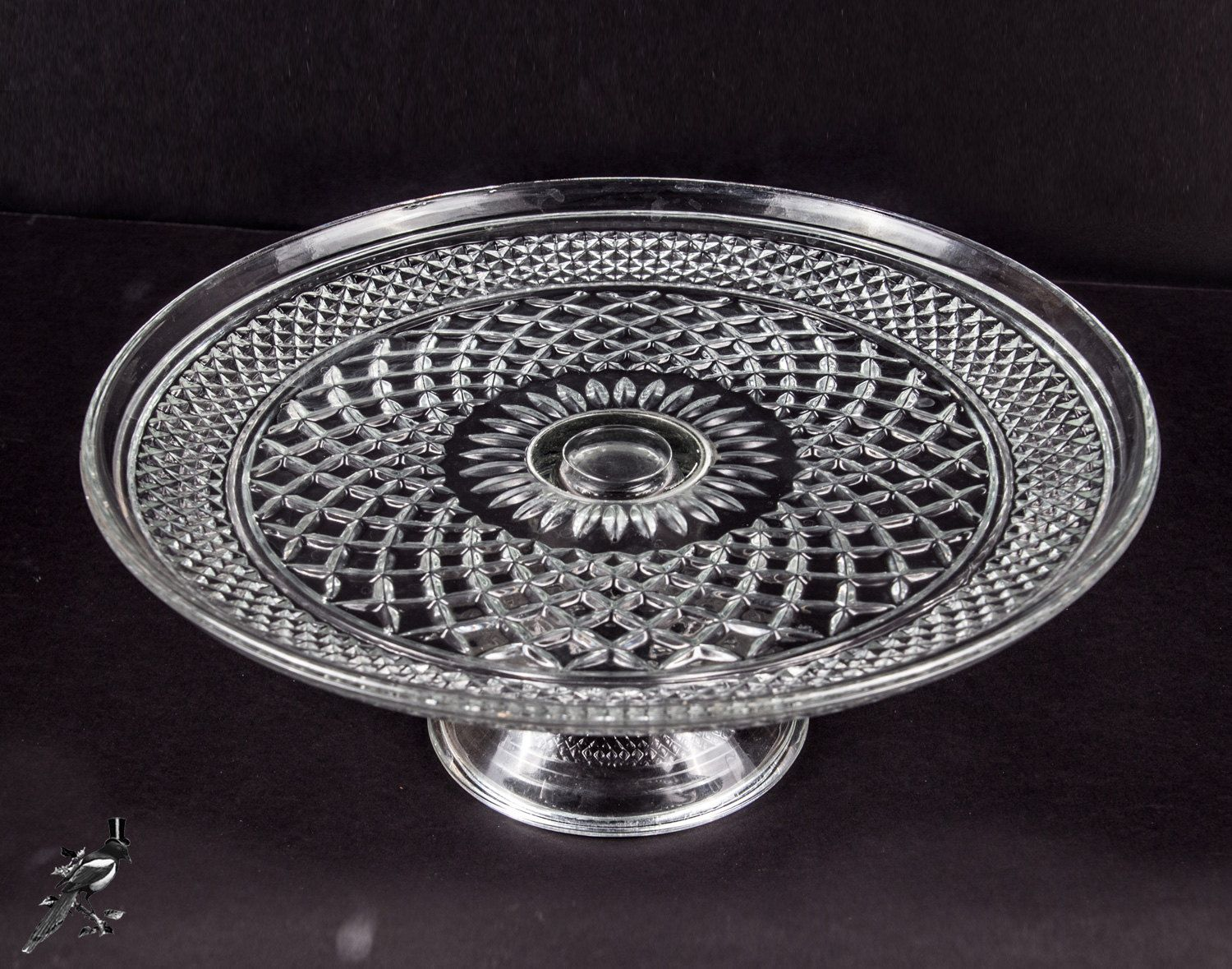 TheCordialMagpie on Etsy Vintage Anchor Hocking Wexford Diamond Pattern Clear Glass Pedestal Cake Stand Cake & Vintage Anchor Hocking Wexford Diamond Pattern Clear Glass Pedestal ...