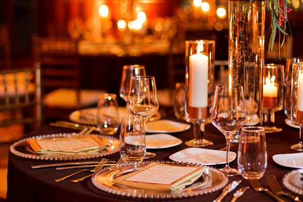 Corporate Holiday Party - Table setting with glass charger place ...