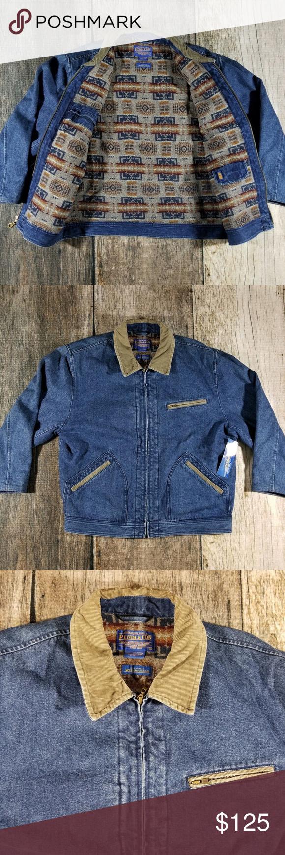 Pendleton Mens Large Jean Denim Jacket Wool Lining Denim Wool Jacket Denim Jacket Lined Denim Jacket [ 1740 x 580 Pixel ]