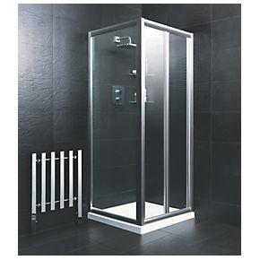 Moretti Bi Fold Shower Door Square Silver 760 X 1850mm Screwfix