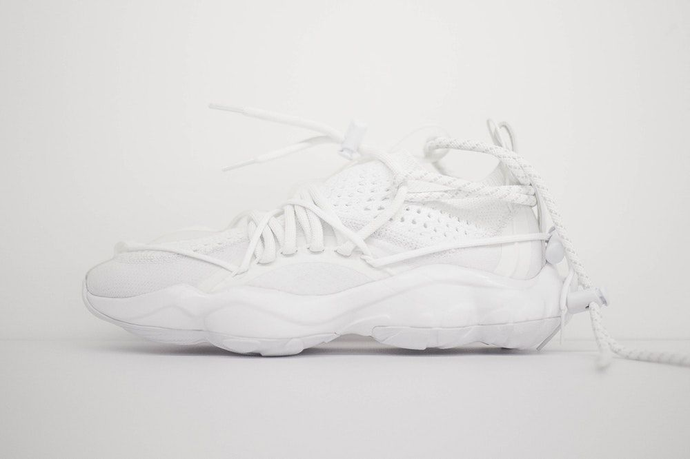 73a5d997ce128d Pyer Moss Reebok DMX Fusion 1 Experiment collaboration first look white  sneakers shoes chunky runner runway 2018 Fall winter collection footwear